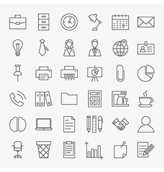 Business Office Life Line Art Design Icons Big Set vector image vector image