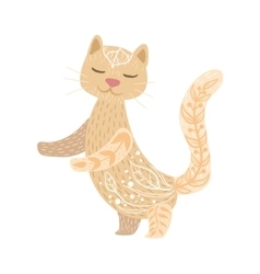 Cat Relaxed Cartoon Pet Animal With Closed Eyes vector image
