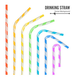 colorful drinking straws set 3d striped icon vector image vector image