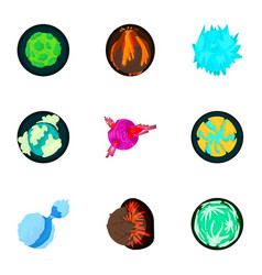 Cosmos planet icons set cartoon style vector