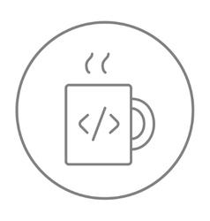 Cup of coffee with code sign line icon vector image vector image