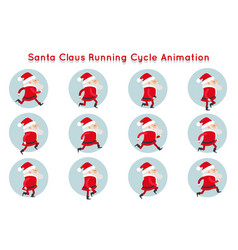 Cute santa claus funny running cycle animation vector