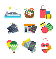Different icons of traveling summer holiday vector