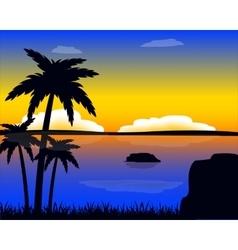 Evening in tropic vector