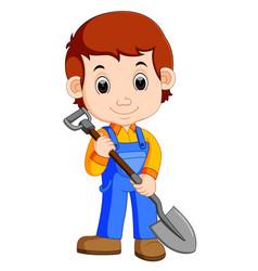 farmer holding a shovel vector image