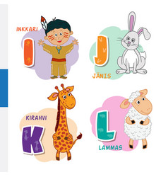 Finnish alphabet native american rabbit giraffe vector