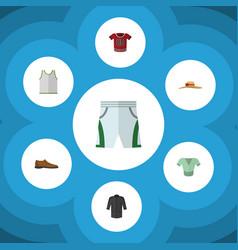 Flat clothes set of t-shirt uniform casual and vector