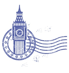 Grunge round stamp with big ben - landmark of vector