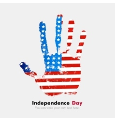 Handprint with the usa flag in grunge style vector