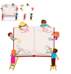 Happy children together draw on a large sheet of vector