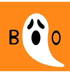Happy halloween funny ghost with hands boo text vector