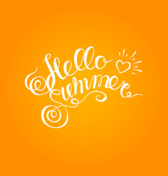 hello summer hand drawn brush lettering typography vector image vector image