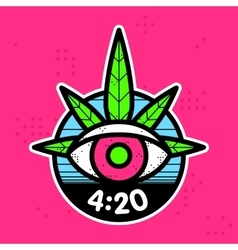 Hipster graphic style cannabis leaf eye vector image
