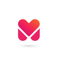letter m heart logo icon design template elements vector image vector image