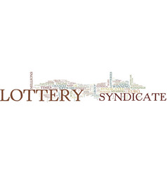 Lottery syndicates should you participate text vector