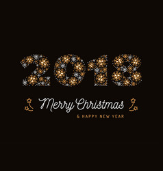 Number 2018 made of snowflakes christmas card and vector