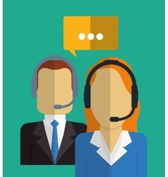 Operator man woman bubble call center service icon vector