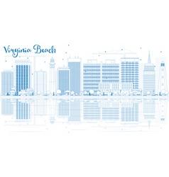 Outline virginia beach skyline with blue buildings vector