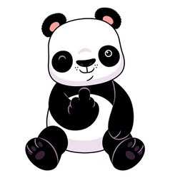 Panda make a middle finger symbol vector image