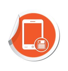 phone save icon orange sticker vector image