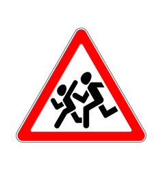 Road sign warning children on white background vector