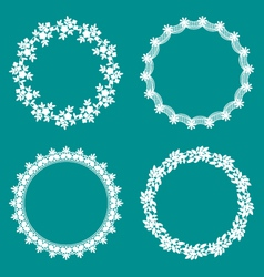 Round decorative lace borders frames vector