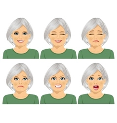 Set of different expressions of senior woman vector