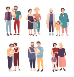 set of gay couple with children of different ages vector image