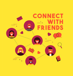 Social media network friend group concept design vector