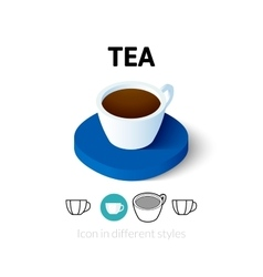 Tea icon in different style vector image