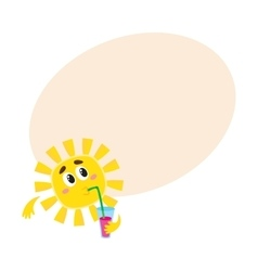 Thoughtful sun drinking cocktail isolated cartoon vector