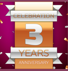 three years anniversary celebration design vector image vector image