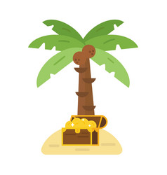 Treasure chest and green palm tree vector