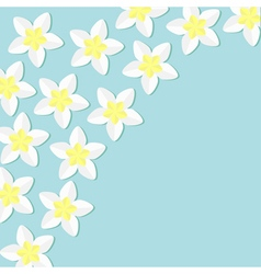 Tropical flower icon set in the corner plumeria vector