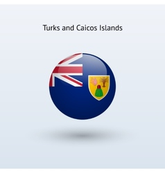 Turks and caicos islands round flag vector