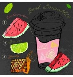 Watermelon Lemon Smoothie vector image