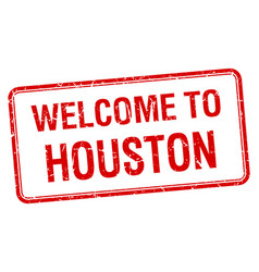 Welcome to houston red grunge square stamp vector