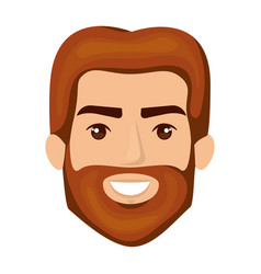 White background of smiling man face with red hair vector