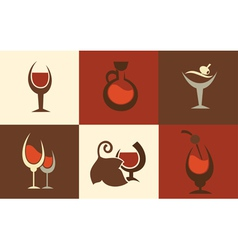 wine icons vector image