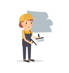 Woman repairs apartment vector image