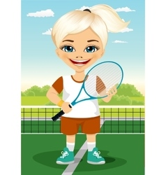 Young little girl with racket and ball vector image vector image