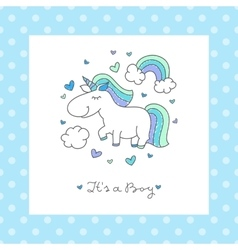 Baby shower card with unicorn vector
