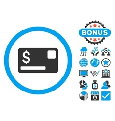 Credit card flat icon with bonus vector