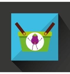 green basket market and tasty eggplant vector image