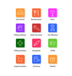 Navigation flat icons set vector