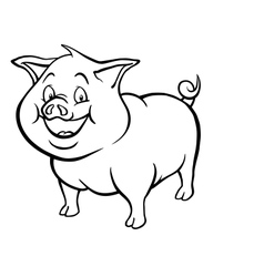 Black and white cartoon pig vector