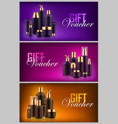 Gift cosmetic bottle voucher vector