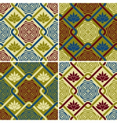 4 seamless patterns in eastern style vector