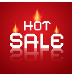 Hot sale paper title in flames on red background vector