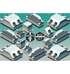Isometric galleries tunnels on frozen terrain vector